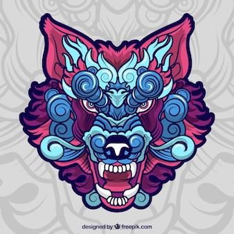 Lobo étnico colorido