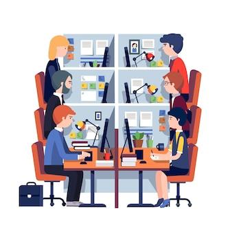 Locais de trabalho em gabinetes com empregados