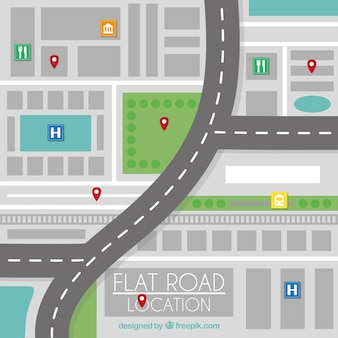 Localização estrada plana