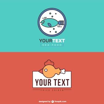 Logos de restaurantes de frutos do mar e frango frito
