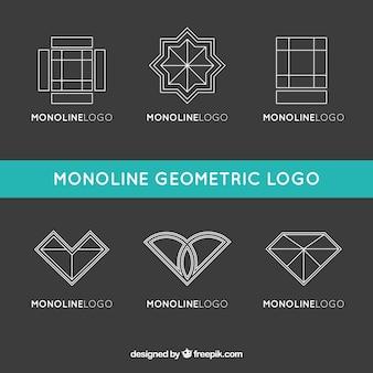 Logos geométricos em estilo monoline