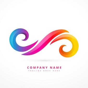 Logotipo abstrato feito com redemoinhos coloridos