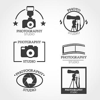 Logotipo da câmera preto e branco