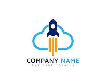 Logotipo da nuvem com foguete