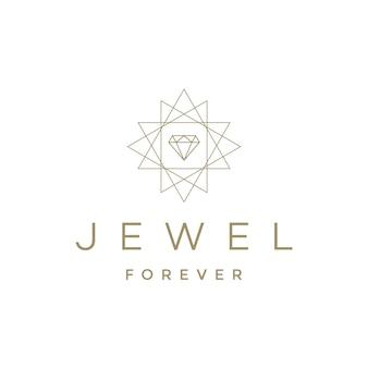 Logotipo de diamante com design geométrico