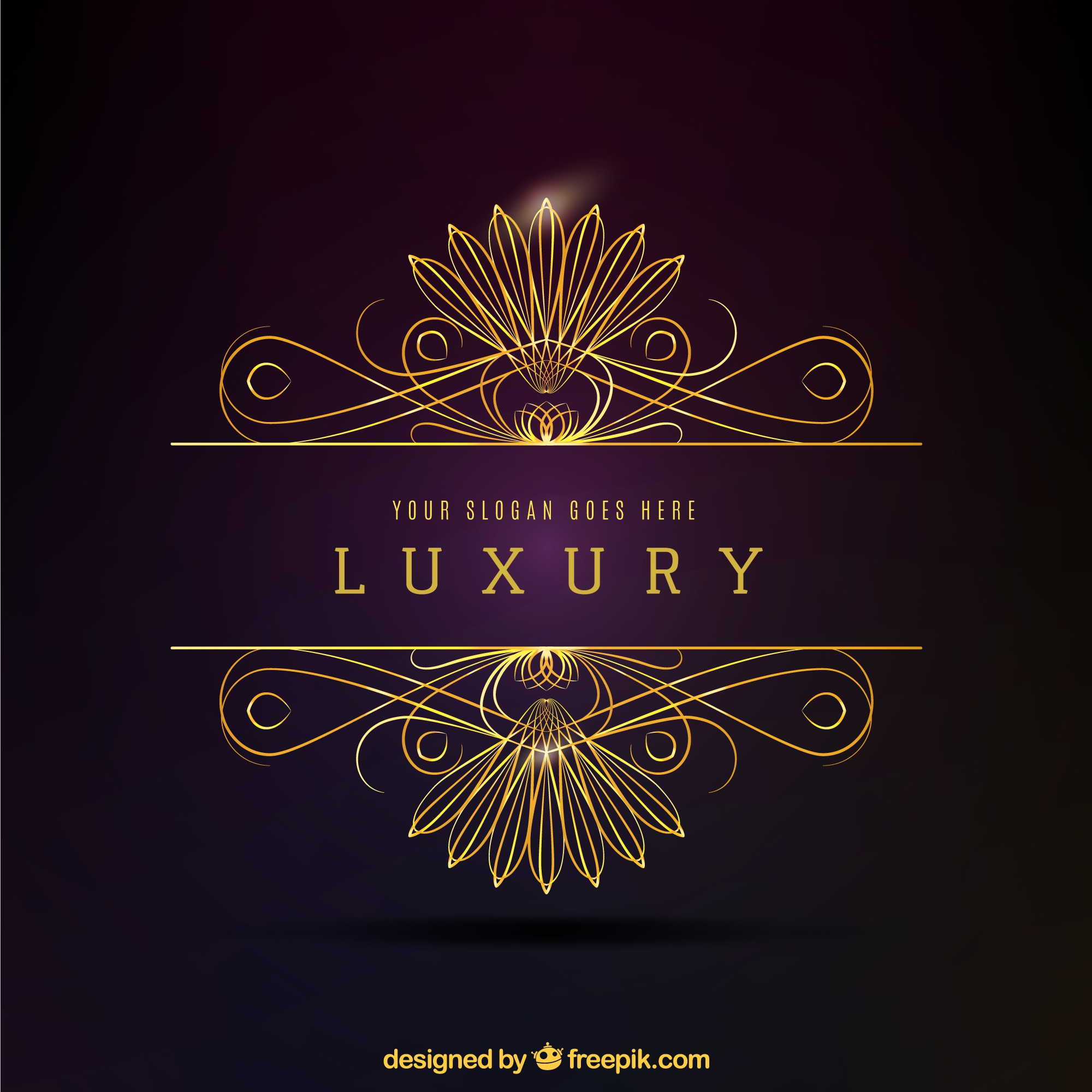 Logotipo decorativo dourado luxuoso