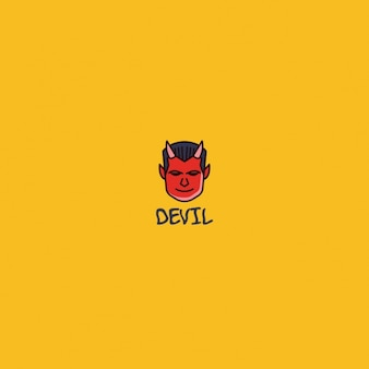 Logotipo do diabo em um fundo amarelo
