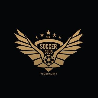 Logotipo do futebol, logotipo do futebol, rótulos da equipe de futebol americano. Emblemas com bolas de futebol. Ilustração do vetor