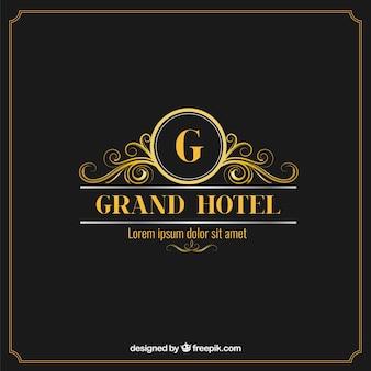 Logotipo elegante e luxuoso hotel
