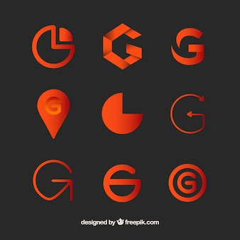 Logotipo letra g coleção de modelos