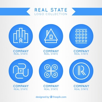 logotipo modelo real estado azul