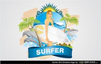 Logotipo mulher surfista super-
