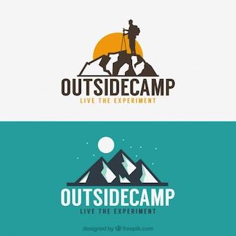 Logotipos aventura com montanhas