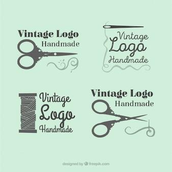 Logotipos belo conjunto de desenhado à mão costura