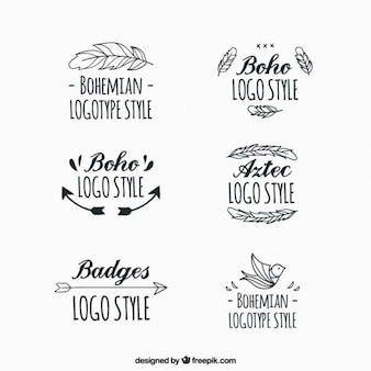 Logotipos boho escrita à mão com ornamentos