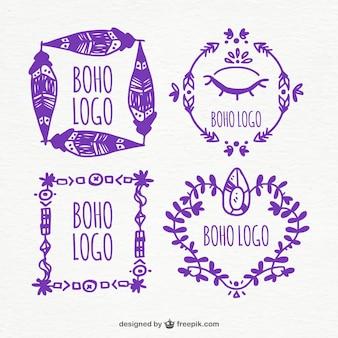 Logotipos boho roxas no estilo desenhado mão