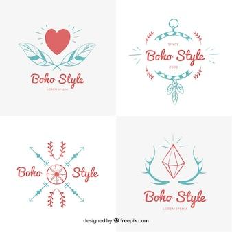 Logotipos boho vermelhas e azuis
