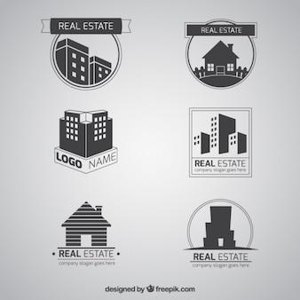 Logotipos cinzentos planos imobiliários