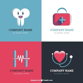 Logotipos clínica em design plano
