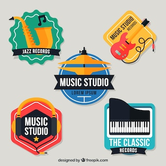 Logotipos coloridos para um estúdio de música