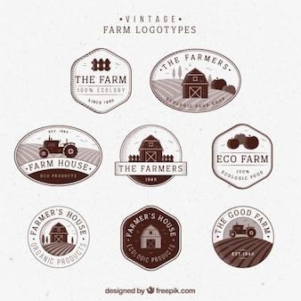 Logotipos de fazenda do vintage desenhados mão