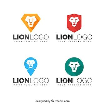 Logotipos de leão, estilo plano