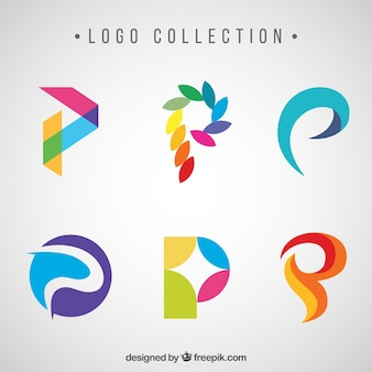 "Logotipos de letras coloridas abstratas ""p"""
