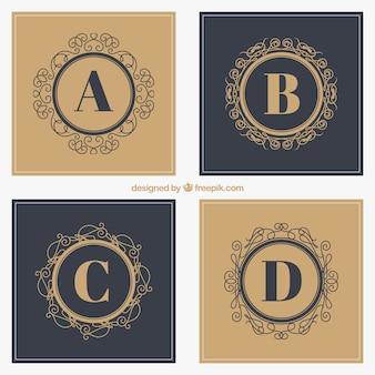 Logotipos decorativos com letras maiúsculas