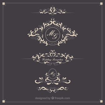 Logotipos do casamento ornamentais