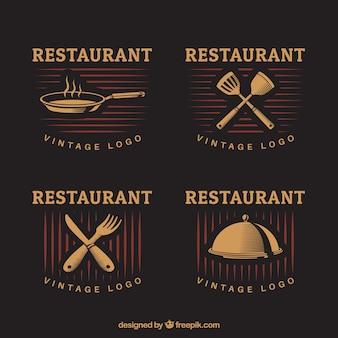Logotipos do restaurante Gorumet com estilo vintage