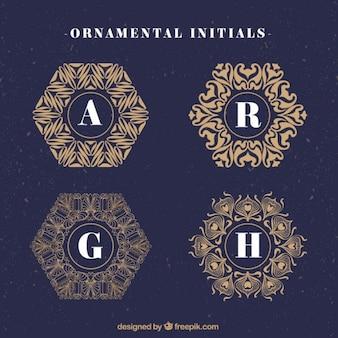 logotipos do vintage com iniciais ornamentais
