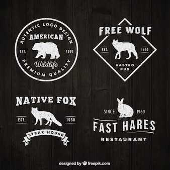 logotipos do vintage com silhuetas animais