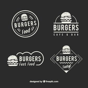 Logotipos elegantes do fast food do restaurante do vintage