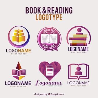 Logotipos livro roxas com desenhos diferentes