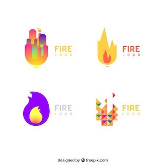 Logotipos modernos conjunto de cores em design plano