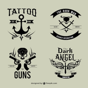 Logotipos pretas do tatuagem do vintage