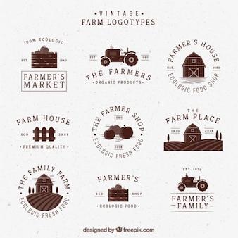 Logotipos retro exploração agrícola desenhados mão