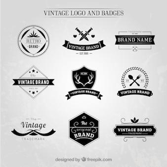 Logotipos vintage elegante e emblemas definidos