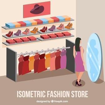 loja de moda com uma menina que tenta em um vestido