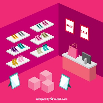 loja de sapatos no estilo isométrico