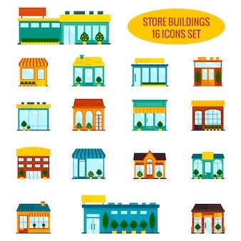 Loja, janela dianteira, edifícios, ícone, conjunto, plano, isolado, vetor, ilustração