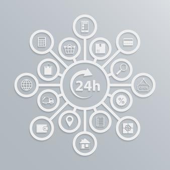 Loja on-line 24 horas de diagrama de serviço ao cliente, como o site de comércio eletrônico funciona ilustração vetorial