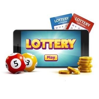 Loteria 3d ícone bolas bilhete telefone isolado no branco vetor illu