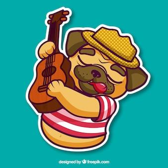 Lovely pug tocando violão