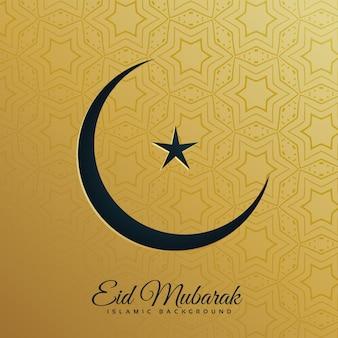 Lua crescente e estrela em fundo dourado para o festival eid