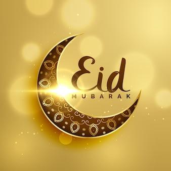 Lua crescente premium com decoração floral para o festival islâmico eid