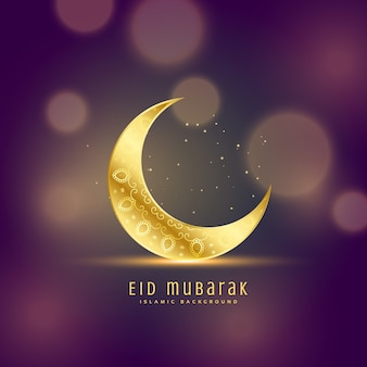 Lua dourada linda no fundo do bokeh eid festival saudação