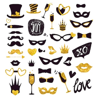 Luxo festa máscara e complementa coleção