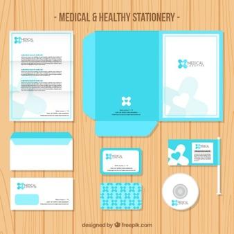 Luz médico artigos de papelaria azuis