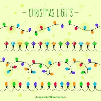 Luzes de Natal com lâmpadas coloridas